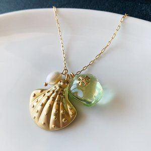 Tory Burch shell pearl charm pendant necklace